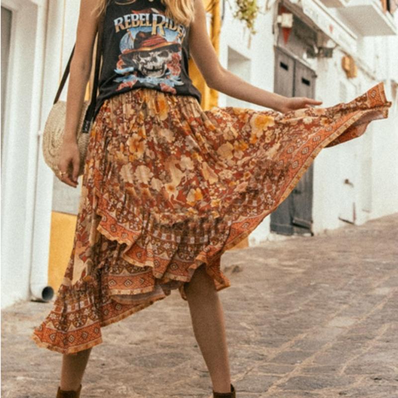 365543ab4ad54 KHALEE YOSE Summer Boho Midi Skirts Floral Print Irregular Skirt Women  Cotton Elastic Waist Holiday Beach Gypsy Long Skirt 2019