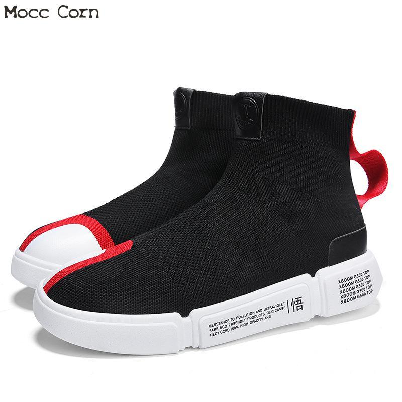 3725a396ccbc Spring Mens High Top Socks Sneakers Red Breathable Mesh Shoes Tenis  Masculino Adulto Men Sneakers Trainers Shoes Mans Footwear Mens Sandals  Dress Shoes From ...