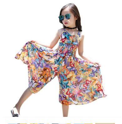 843c9a6f6b 2019 Big Kids Designer Clothes Girls Dress 2019 Summer Sleeveless Bohemia  Beachwear Dress Floral Boho Wide Leg Jumpsuit Loose Pants Girls Clothes  From ...