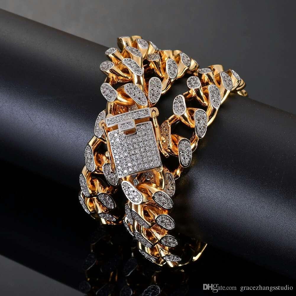 01e20c72ff11 Cadenas cubanas de diamantes de hip hop para hombres, venta al por mayor,  chapado en oro real, cadena de eslabones de lujo, cobre, 18 pulgadas, 22 ...