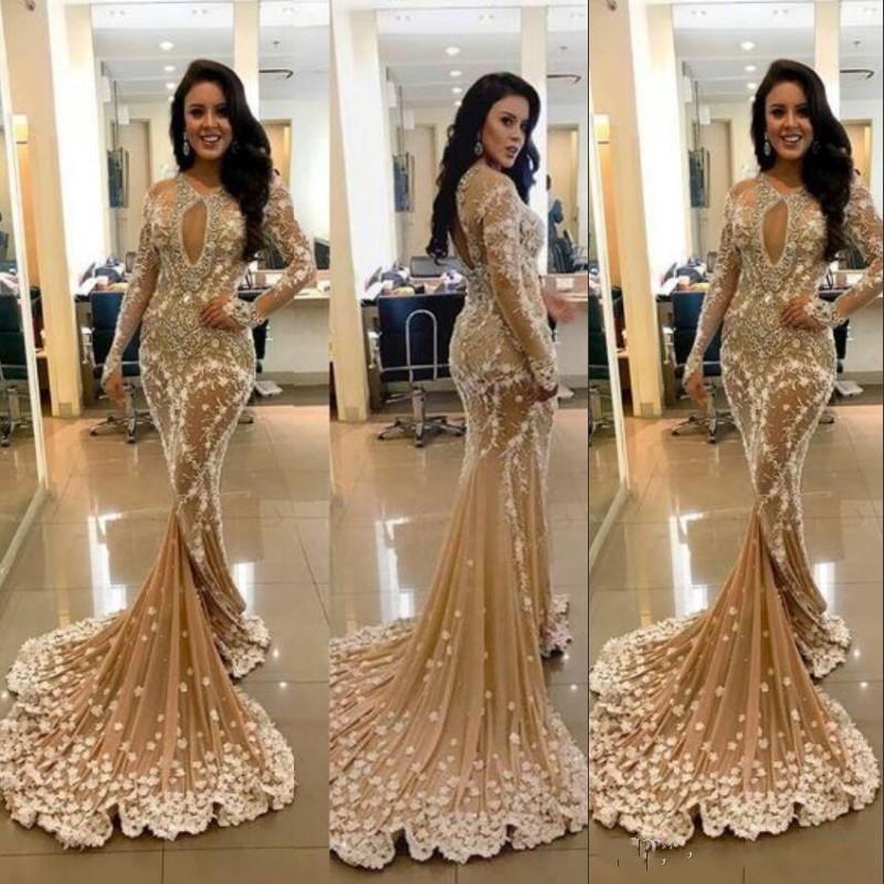 b5f6d43329369 Satın Al Seksi Anahtar Deliği Boyun Gelinlik Modelleri Moda Sequins Çiçek  Aplike Boncuk Uzun Kollu Parti Balo Elbise Suudi Arabistan Mermaid Abiye,  ...