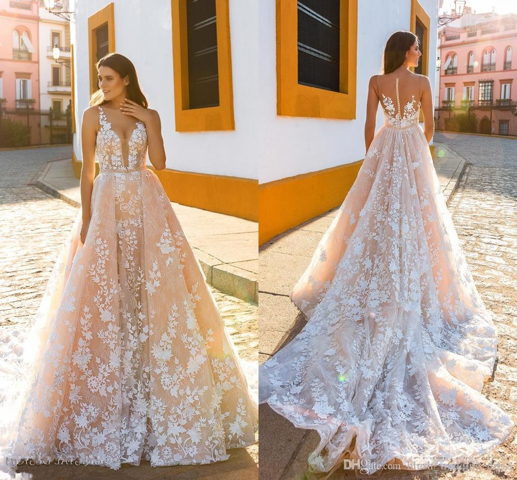 A Line Crystal Design Wedding Dresses Sleeveless Straps Deep Plunging Full Embellishment Blush Color Wedding Dresses Sheer Back Royal Train