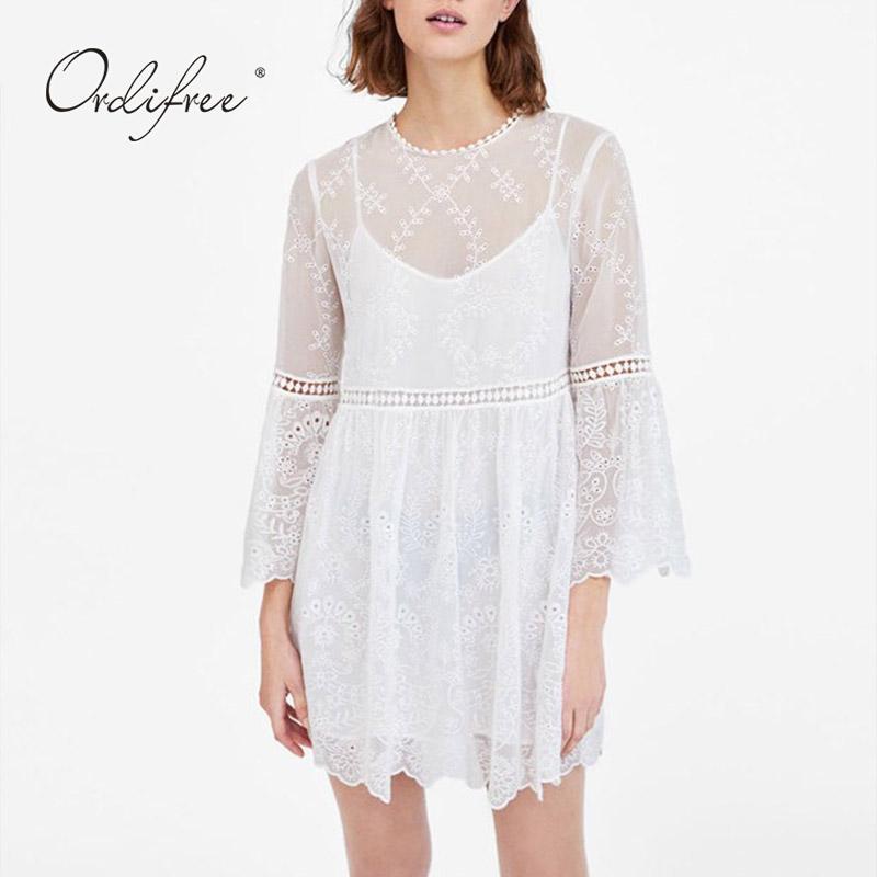 a295f10741cc Ordifree 2019 Summer White Lace Dress Long Sleeve Set Women Sexy Mini  Embroidery Dress Short Tunic Beach Black Dress Womens Cocktail Long Dress  From Aimea