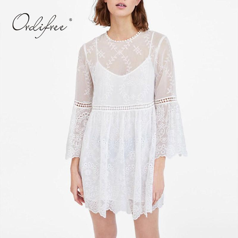 c64b79958f74 Acquista Ordifree 2019 Summer White Lace Dress Manica Lunga 2 Pezzi Set Da  Donna Sexy Mini Abito Da Ricamo Short Tunic Beach A  41.97 Dal Aimea