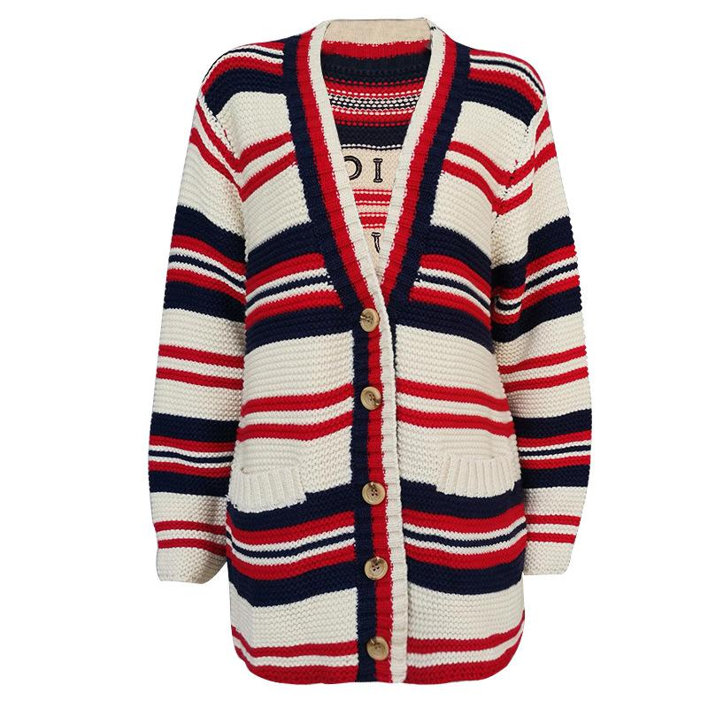 Contrast Knit Cardigan Jacket Simple Womens Stripe Lazy College Wind Back Letters Thick Knit Cardigan Sweater Women high quality