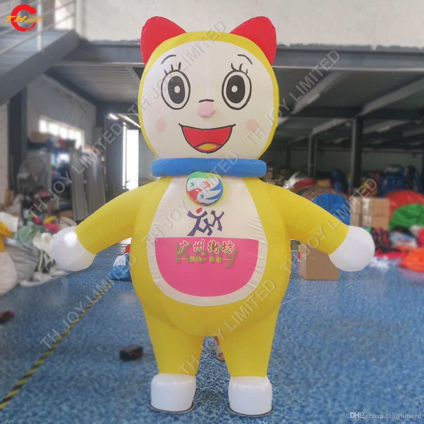 advertising inflatable cat cartoon with logo printing cheap oxford fabric inflatable cat ground balloon for sale free ship to door