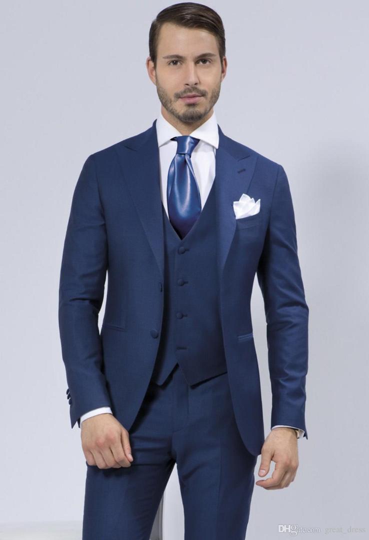 b535b82c2 Compre TPSAADE Azul Royal Terno Dos Homens Para O Casamento 3 Peças Jaqueta  + Calça + Colete + Empate Personalizado Do Noivo Do Baile De Finalistas  Trajes ...