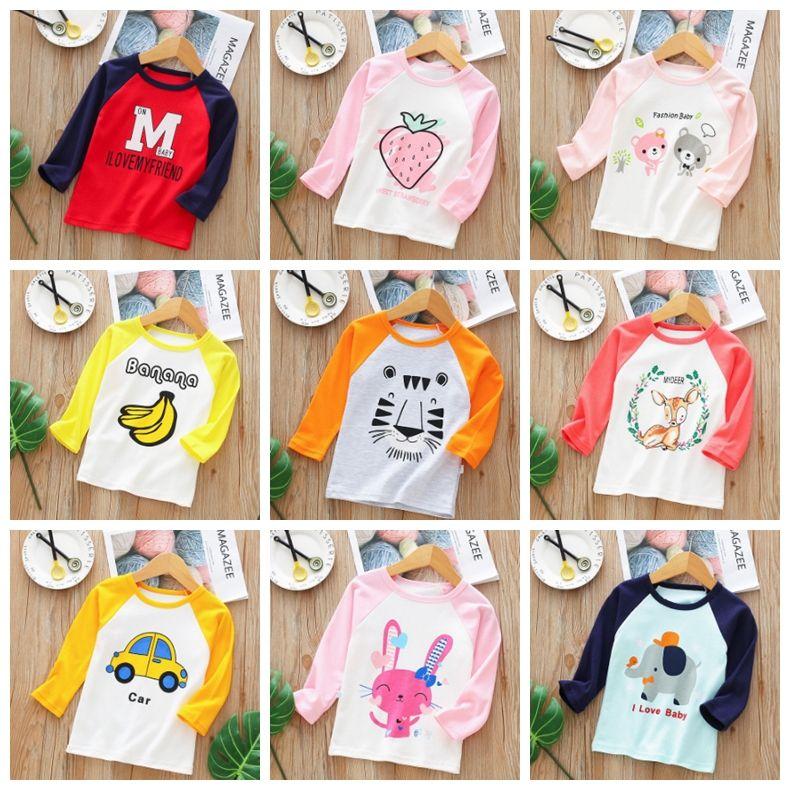 9fd2ca8da Ropa de diseño para niños Niños Camisas de algodón Camiseta de manga larga  para niñas Camiseta Niños de dibujos animados Tops Ropa para niños ...