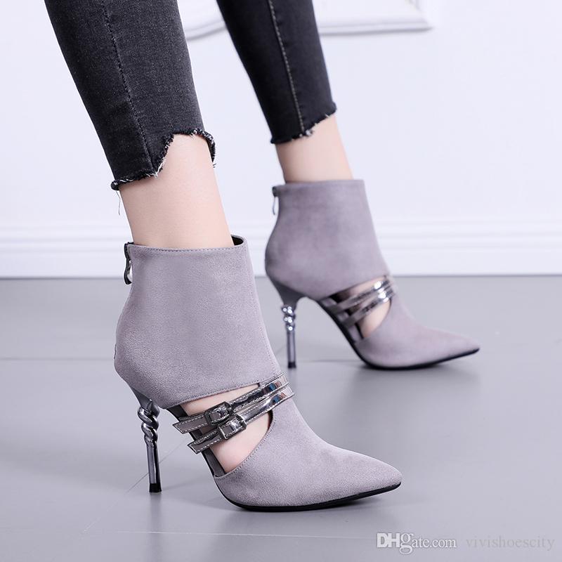 Рим сексуальный выдалбливают металлический ремешок остроконечные лодыжки бути дизайнер высокие каблуки серый черный размер 34 до 39