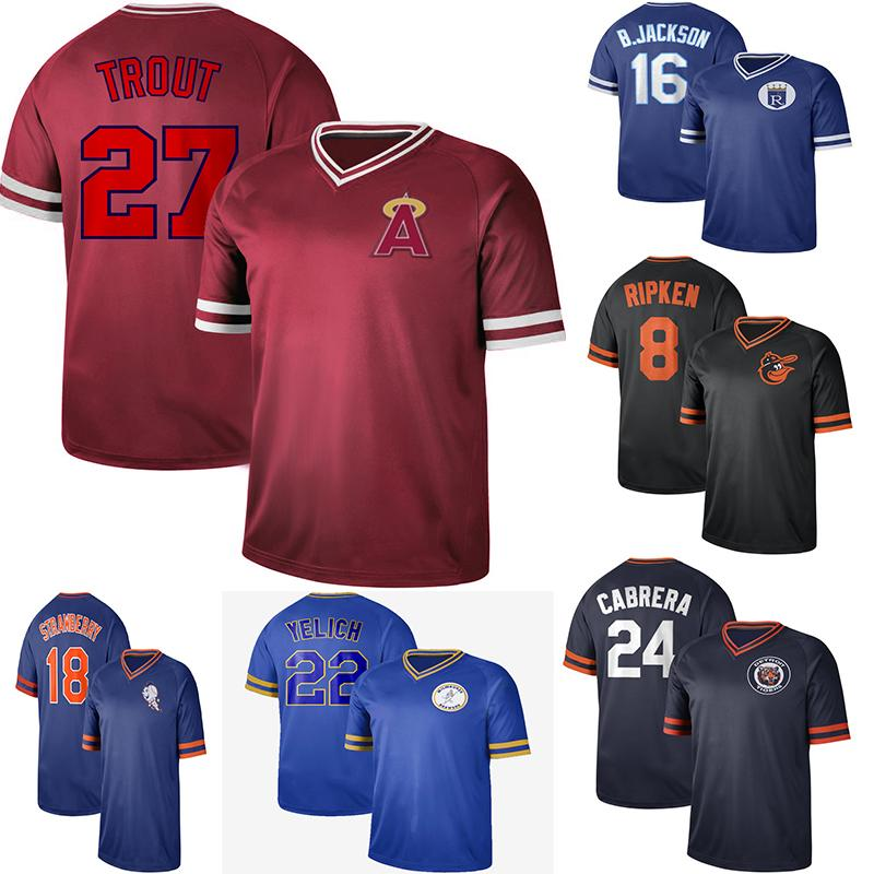 timeless design 26691 c7bf1 Vintage Men Baseball Seattle 24 Ken Griffey 16 Bo JacksonRoyals Baltimore 8  Cal Ripken Orioles Los Angeles 27 Mike Trout Angels