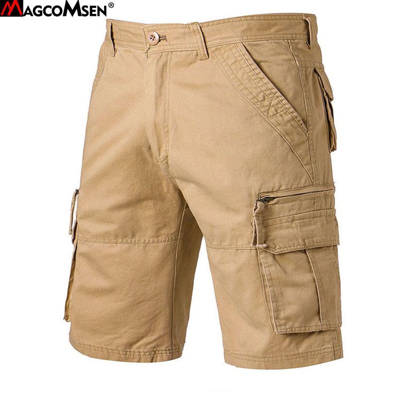 820ad0ea64bb0 MAGCOMSEN Herren Shorts Sommer Cargo Shorts Multi-Taschen Baumwolle Gerade  Kurze Hosen Hose Tactical AG-SZ-01