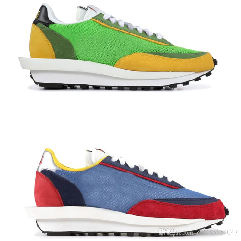 559c660cb15a LD Waffle Sacai Running Shoes Green Multi Blue Multi 2019 Men Women  Trainers Shoes Tripe S Sneakers Outdoor Walking Hikking Trainers Sports  Best Running ...