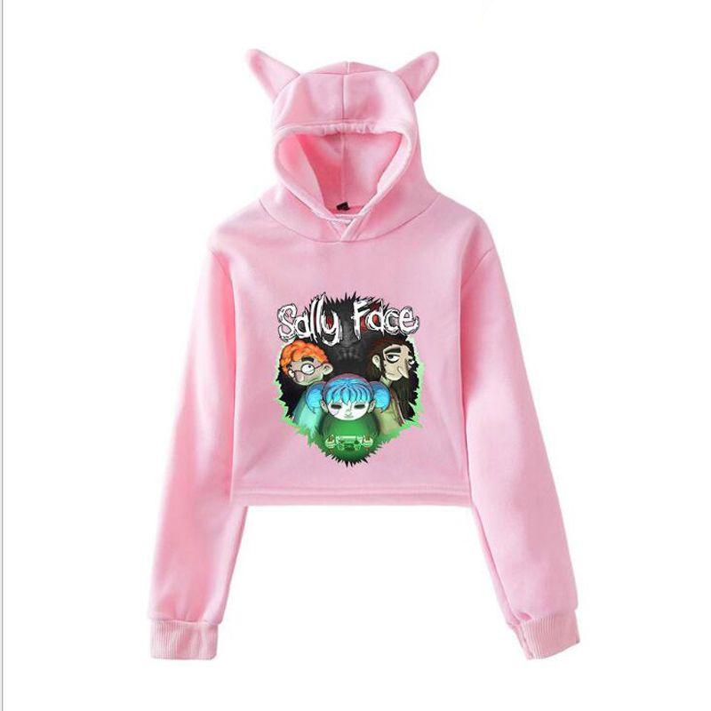 63664433204fa 2019 Sally Face Cropped Hooded Sweatshirt Women Cute Cat Ear Crop Top Hoodie  Pullovers Sexy Girl Fasion New Casual Loose Sweat Femme From Zhouzhaoyu