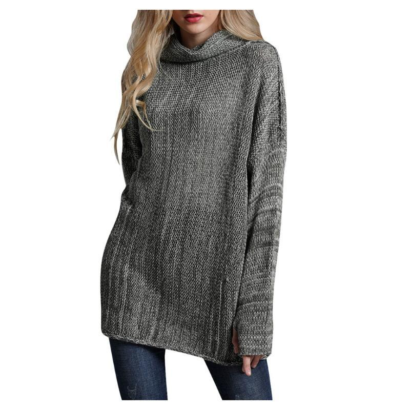 turtleneck sweater women knitted Women lady's Solid Color Long Sleeve Winter Pullover Sweater2019 #4