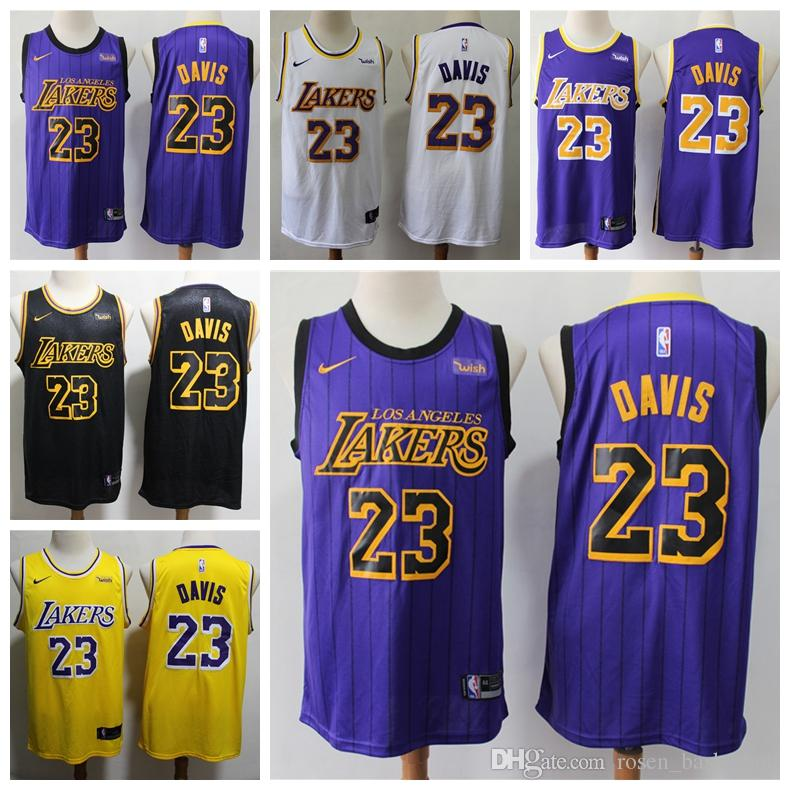 separation shoes 6b6d2 8e025 2020 Mens 23# Anthony Davis Swingman Jersey Authentic Los Angeles Laker  Anthony Davis LeBron James Basketball Jersey Stitched Sponsor logo