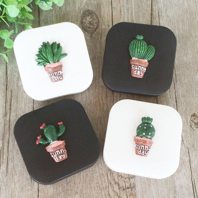Cute Fashion Random Cactus Pattern Travel Glasses Contact Lenses Box Contact Lens Case For Eyes Care Kit Holder Container Eyewear Accessories