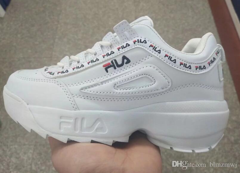 a4aaa8b28 2019 FILA Disruptor II 2 Women Sneaker Running Shoes White Pink Summer  Increased Outdoor Sneaker Plus Size 36-40