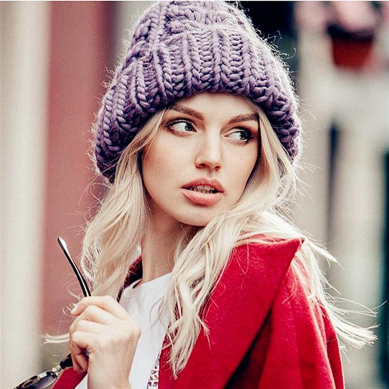 Compre Moda Mujer Sombrero Sombreros De Invierno Para Mujer Sombreros  Hechos A Mano De Lana De Punto Grueso Gorras Sombrero Caliente Para Niñas  Mujeres ... 0c3c8af6501