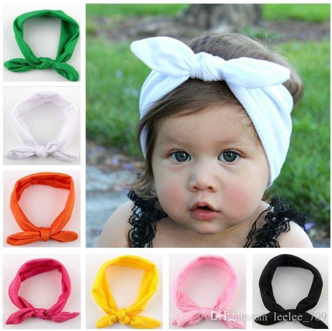50a978f67bfb Baby Kids Girl Bow Headband Rabbit Ears Hair Band Turban Knot Head Wrap  YH403 Easter Bunny Ears Headwrap Vintage Wedding Hair Accessories Green  Hair ...