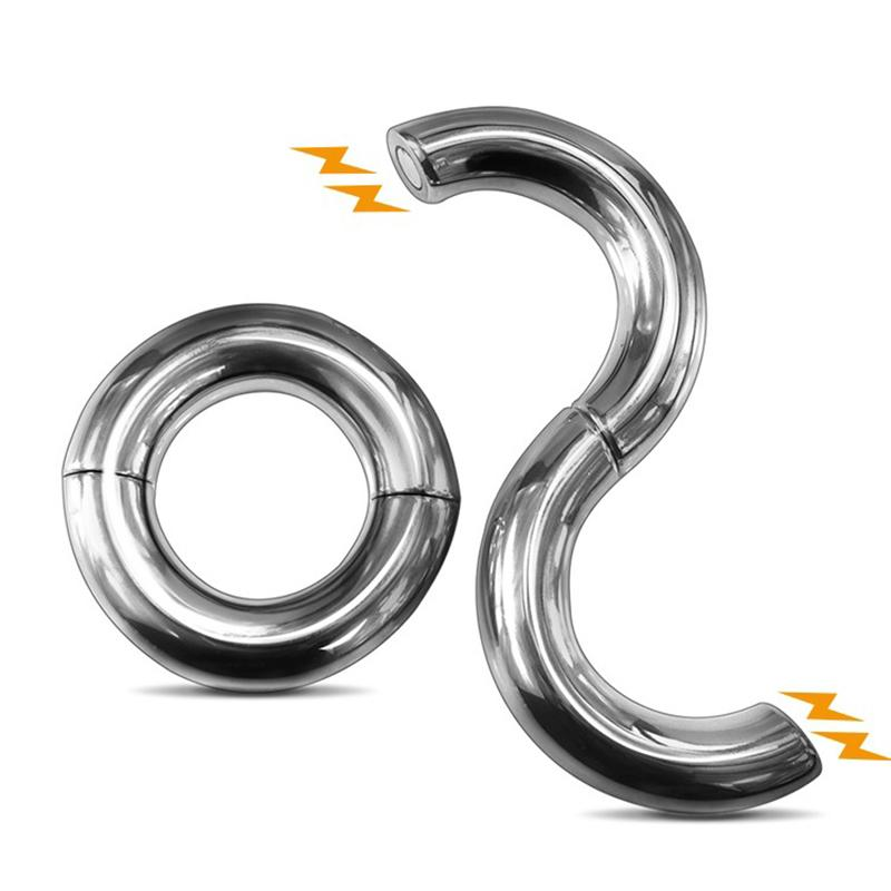 Stainless Steel Magnetic Ball Stretcher Metal Cockring Scrotum Bondage Penis Ring Delay Ring Male Chastity Device Men Sex Toys Y19052703