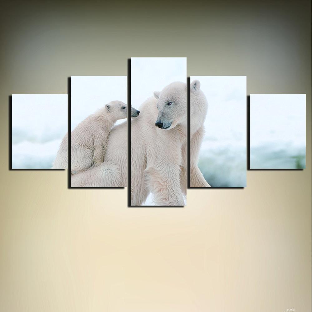 Satın Al Modüler Resimler Posteri Hd Baskılı Boyama 5 Panel Hayvan