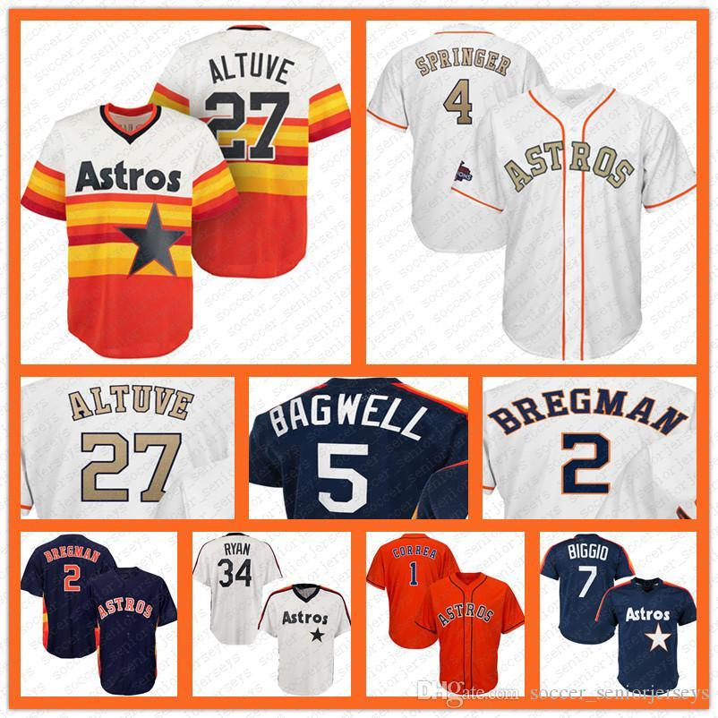 2 Alex Bregman 27 Jose Altuve Astros Baseball Jersey Houston 4 George Springer 5 Bagwell Verlander Correa Jones Marisnick Ryan Biggio