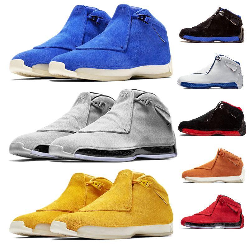 0915b9786da4 Mens Yellow Suede 18 18s XVIII Basketball Shoes Orange Sport Royal Toro  Cool Grey Blue Black Royal Defining Moments Thletic Sport Sneakers Basketball  Shoes ...