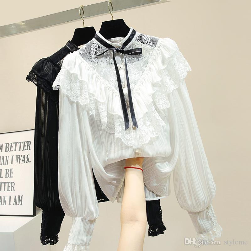 d37853d152c3 Marke Designer Frauen Spitze Bluse 2019 Frühling Sommer Mode Dame Rüschen  Getäfelten Langarm Party Shirts Volants Transparente Tops