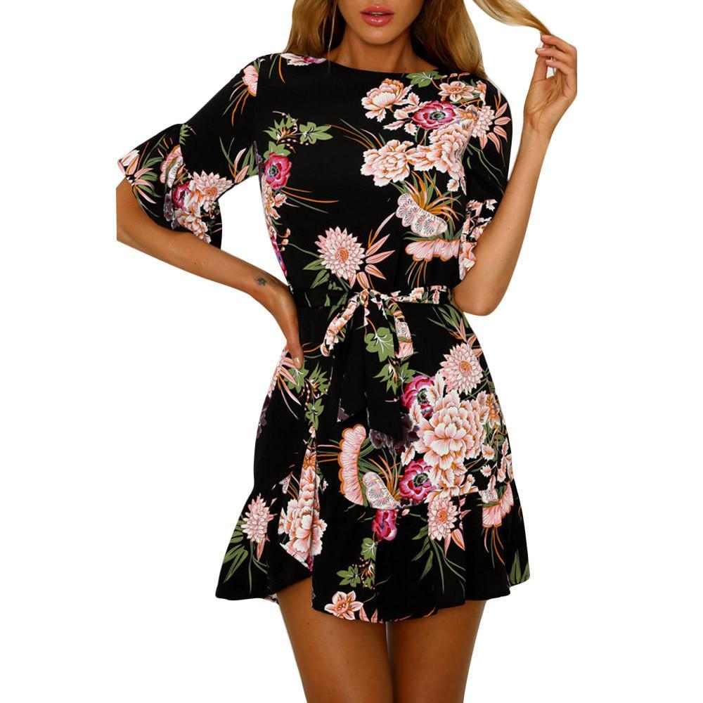6dfccc3ce904 Women Floral Print Dress Fashion Beach Style A Line Mini Dresses Bow Waist  Short Sleeve Ruffles Summer Dress #L Short White Dresses Dress Styles From  ...