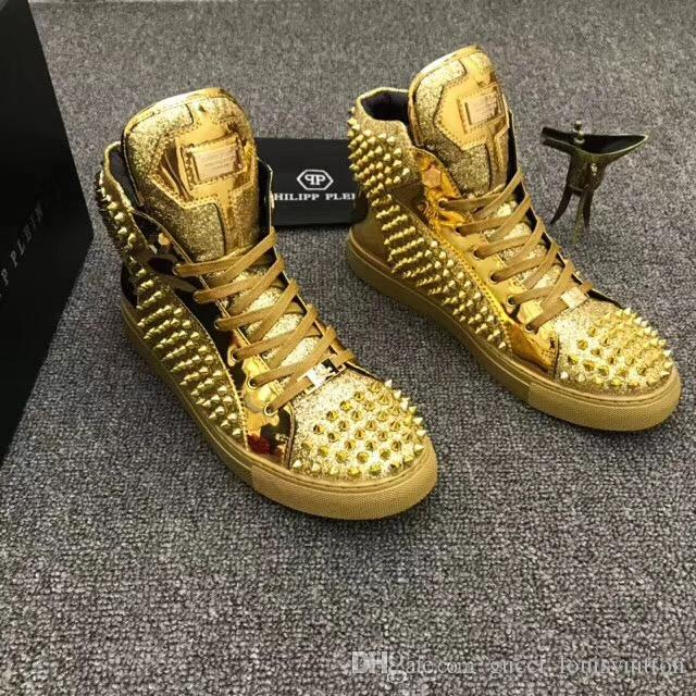 21b01b812af03e Philipp Plein PP 19SS Newest Sneaker Mens Shoes Top Stars Luxury Leather Of  Rivet Skulls Sneakers Casual Men Shoes EUR38 45 Extensions For White Hair  White ...