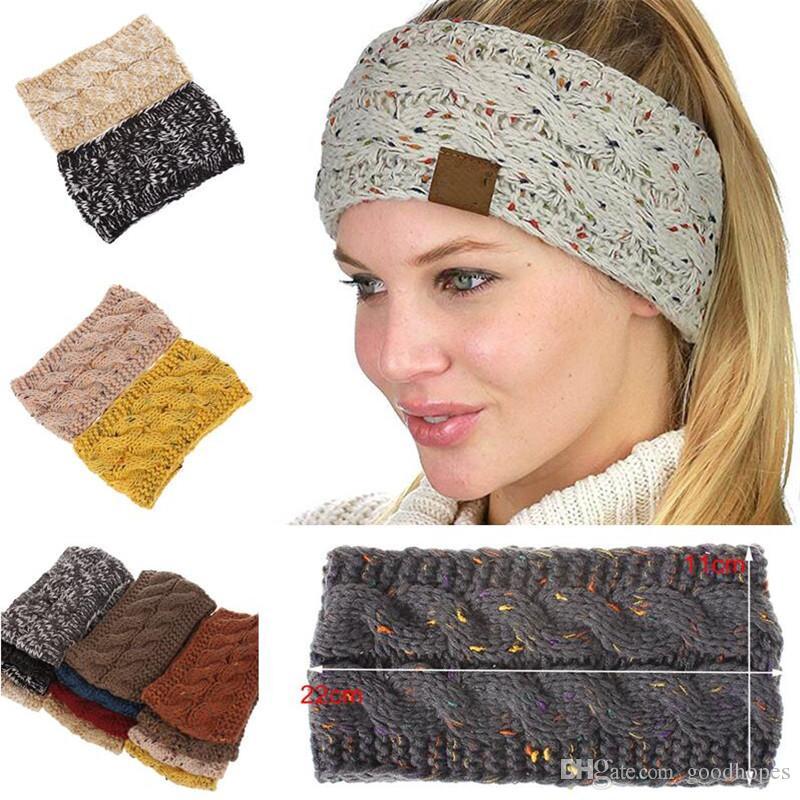 a6ef3e41 Knitted Crochet Headband Women Winter Sports Headwrap Boho Yoga Headbands  Turban Ear Warmer Beanie Cap Hair Accessories 21 Colors