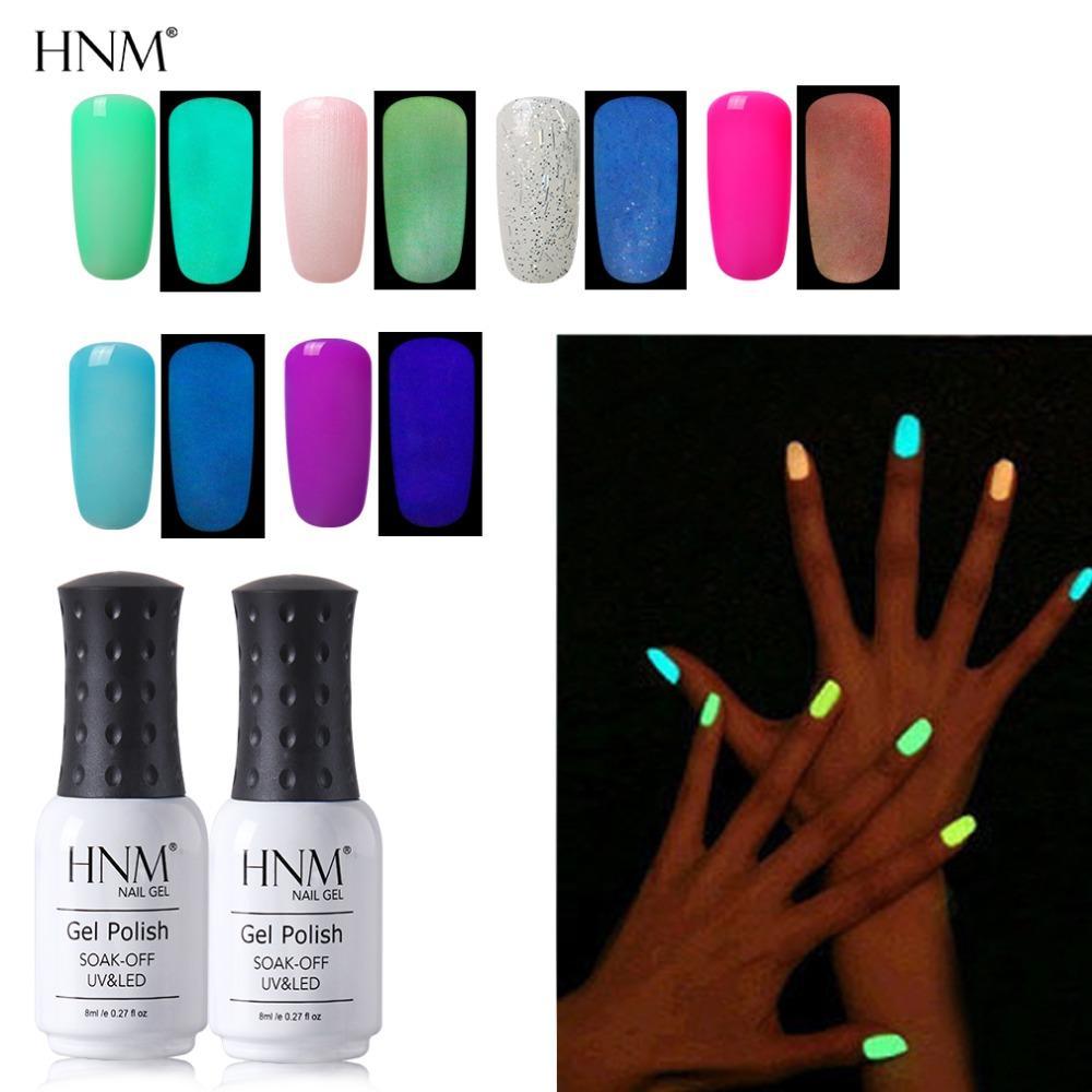 HNM Fluorescent Luminous 8ML UV Gel Nail Polish Soak Off Hybrid ...