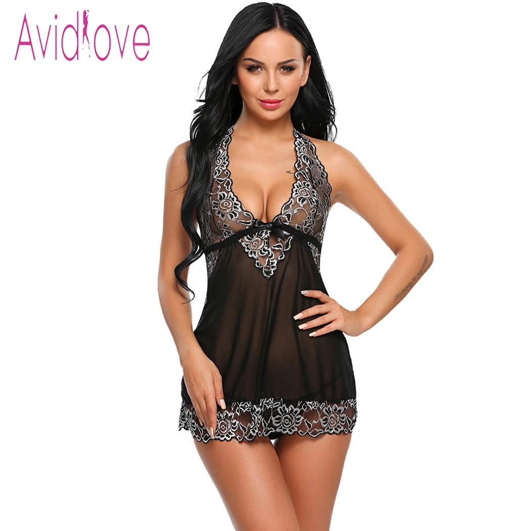 Avidlove Halter Lace Lingerie Sexy Hot Erotic Underwear Women Mini Babydoll  Dress Nightwear Langeri Negligee Porn Sex Costume D18120802 Ladies Cotton  Pyjama ... 2cf6a50a2