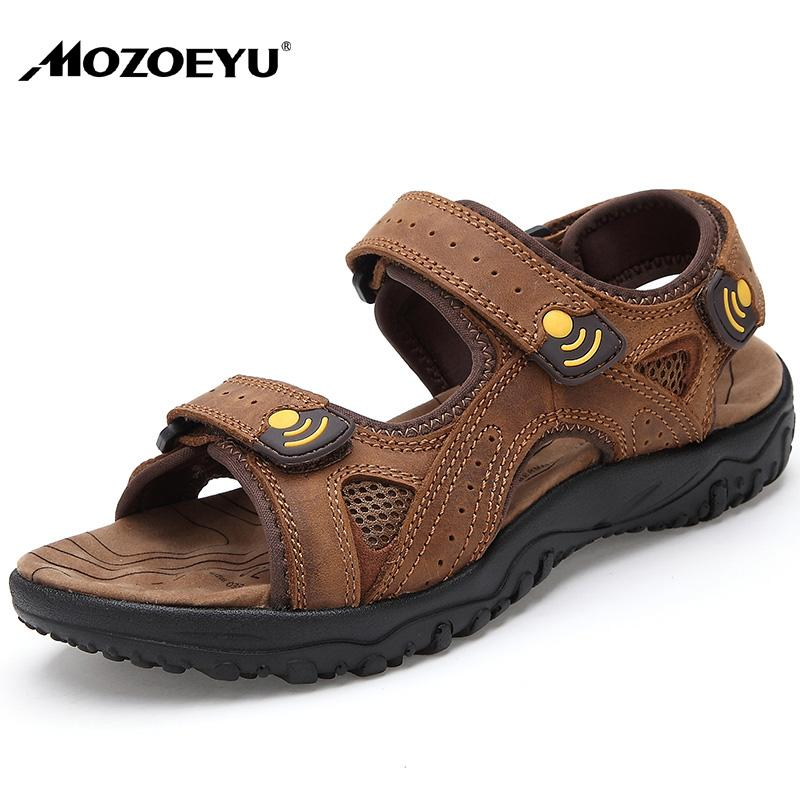 MOZOEYU Mens Sandals Summer Breathable Casual Shoes Nubuck leather Sandalias Anti-skid Thick Sole Sandals Plus Size 38-45 Brown
