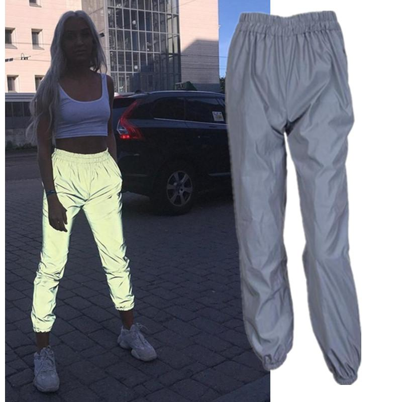 f06cdc2f1a363f 2019 Flash Reflective Jogger Pants Women Fashion Club Harem Pants Leggings  Casual Gray Streetwear Trousers From Xuelianguo, $24.99 | DHgate.Com