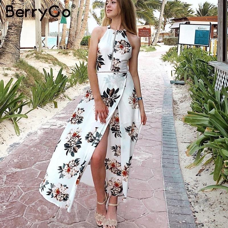 3176f960f351e BerryGo Floral print halter chiffon long dress Women backless 2018 maxi  dresses vestidos Sexy white split beach summer dress Q190423