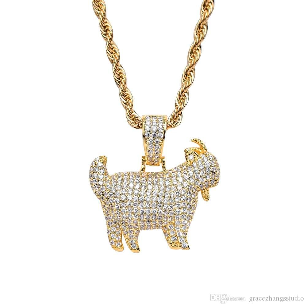 hip hop goat diamonds pendant necklaces for men women luxury sheep necklace real gold plated Cuban chains The Chinese Zodiac system jewelry