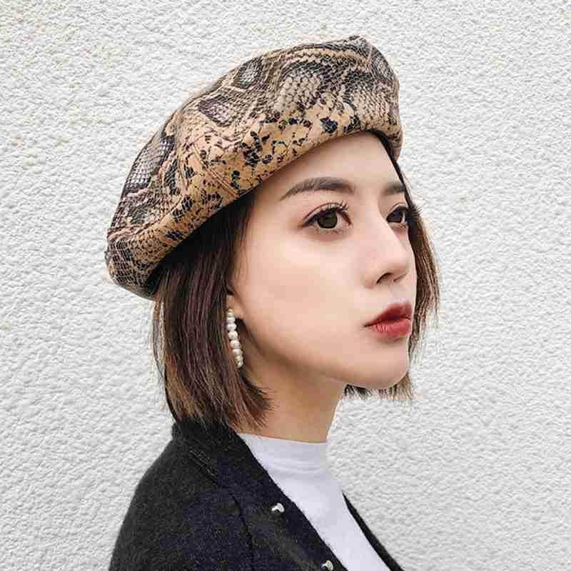 fe05771a12a 2019 MYZOPER 2019 Fashion New Snakeskin Pattern Sexy Spring Autumn Beret  Casual Tide Korean Version Women S Hat Adult Cap From Turban