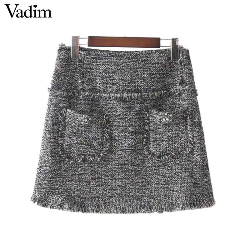 818242f18f56 2019 Vadim Vintage Fringe Tassels Faux Diamonds Beading Skirts Pockets  Zipper Retro Chic Cute Mini Skirt Faldas Mujer BSQ633 From Xisibeauty, ...