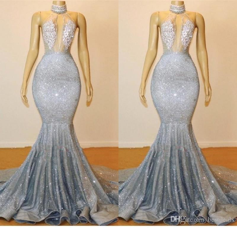 07f64c16c78b Silver Grey Sequins Mermaid Prom Dresses 2019 Sexy Keyhole Neck Backless  Evening Dresses Court Train Women Party Gowns BC0679 Prom Dresses 2011 Prom  Dresses ...