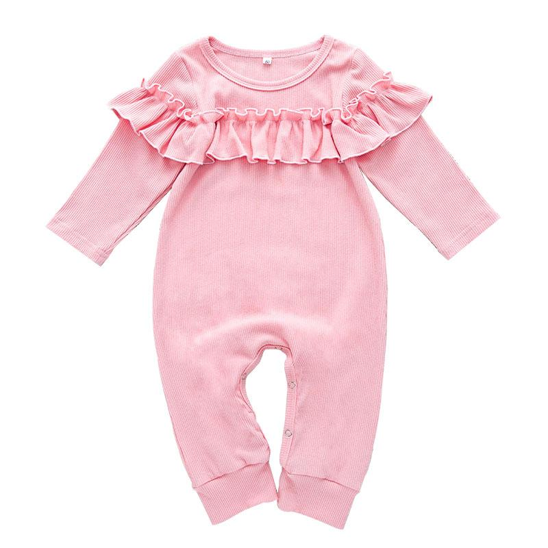 Baby Romper Crawling Clothes Cotton Blend Pure Color Lotus Leaf Fold Long Sleeve Sweet Style In Stock 50