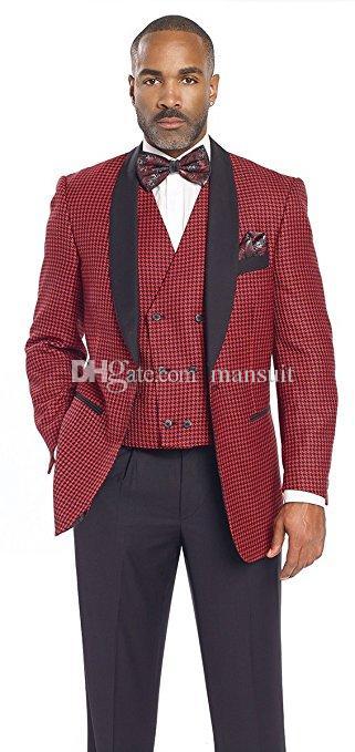 Acheter Beaux Garçons D honneur Châle Revers Noir Marié Smokings Bourgogne  Costumes Pour Hommes Mariage   Bal   Dîner Meilleur Blazer D homme Veste +  ... de4f4ebcd11