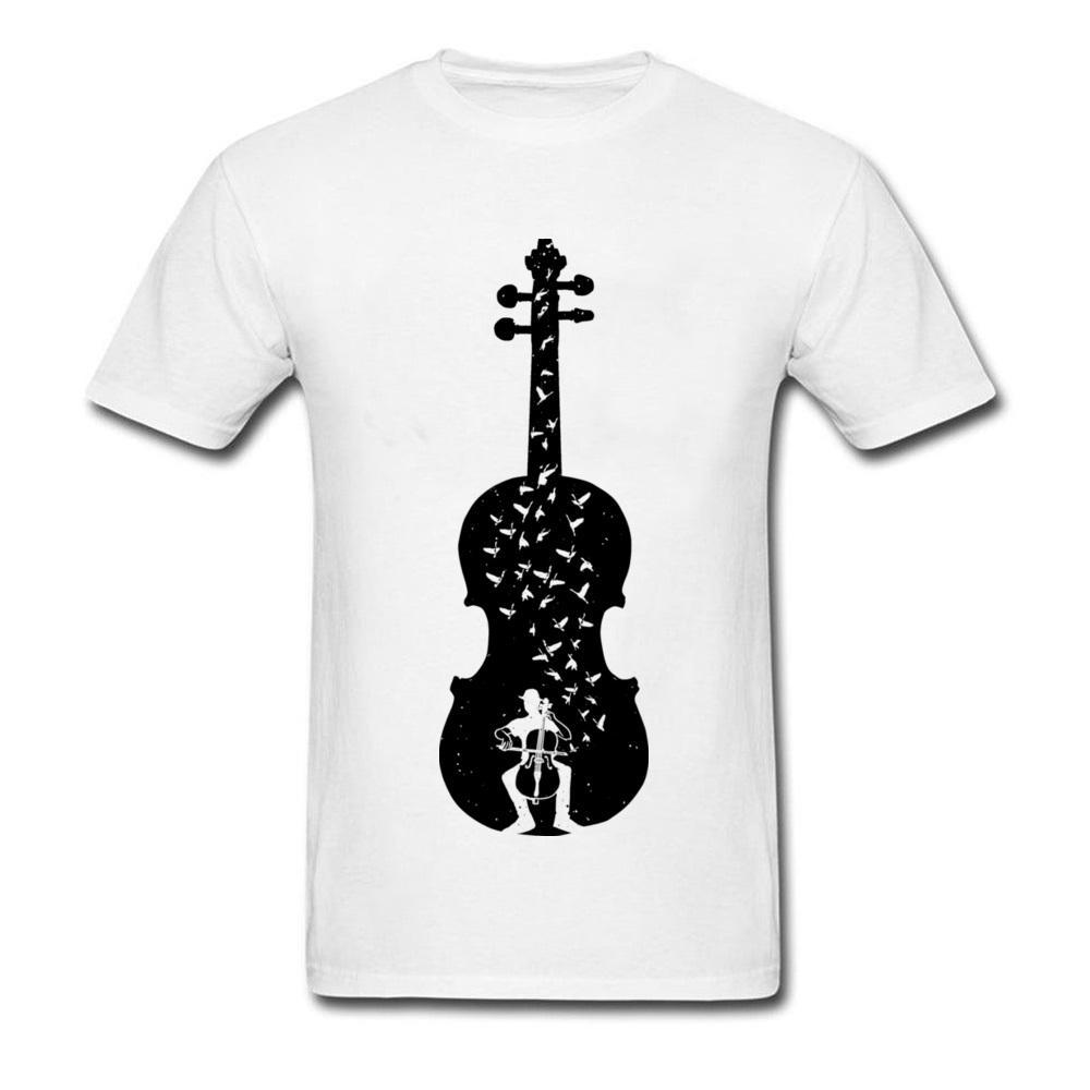 e2b0da9a3eef Custom Ink T Shirts Men Big Cello Guitar Men's Fashion Summer Pure Cotton  Clothes Fashion Music Lover College T-shirts Outline