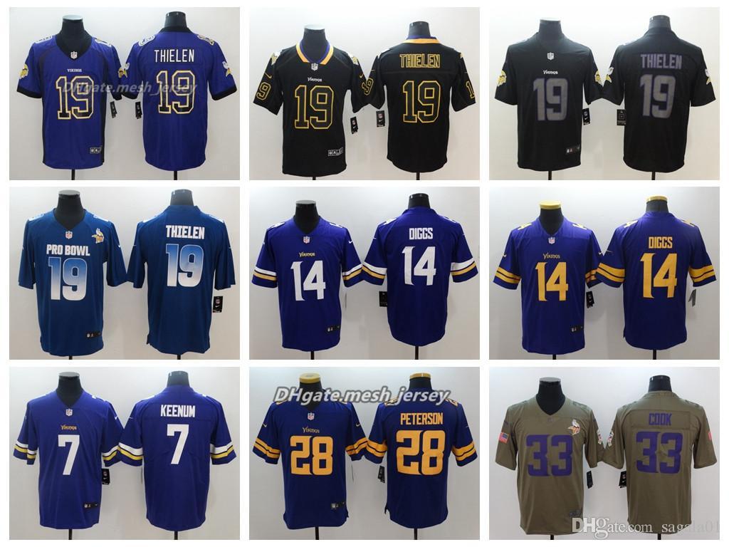 2019 Men Minnesota Jersey Vikings 19 Adam Thielen 14 Stefon Diggs 33 Dalvin  Cook 28 Adrian Peterson 7Case Keenum Color Rush Football Jerseys From ... 107363317