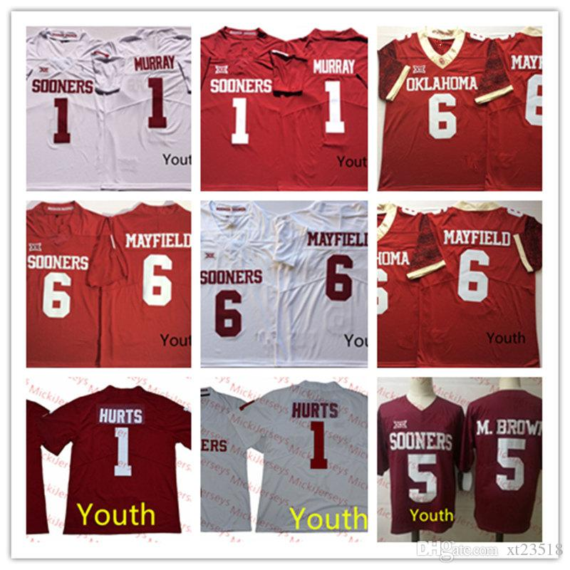 huge discount 21430 93167 Youth Oklahoma Sooners Kyler Murray Football Jersey Kids #5 Marquise Brown  #6 Baker Mayfield #1 Jalen Hurts Oklahoma Sooners Jersey