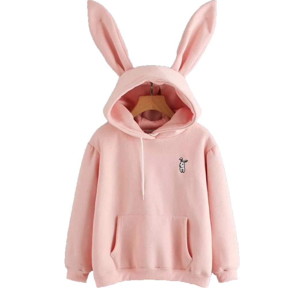 2019 Harajuku Hoodies Women Long Sleeve Rabbit Embroidered Sweatshirt Pullover Autumn Lovely Rabbit Ears Jumper Sweet Cartoon