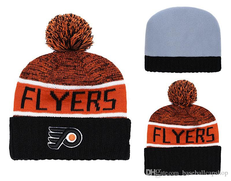 7c25ea9c86b ... good new mens philadelphia flyers knitted cuffed pom beanie hats  striped sideline hockey team beanie cap