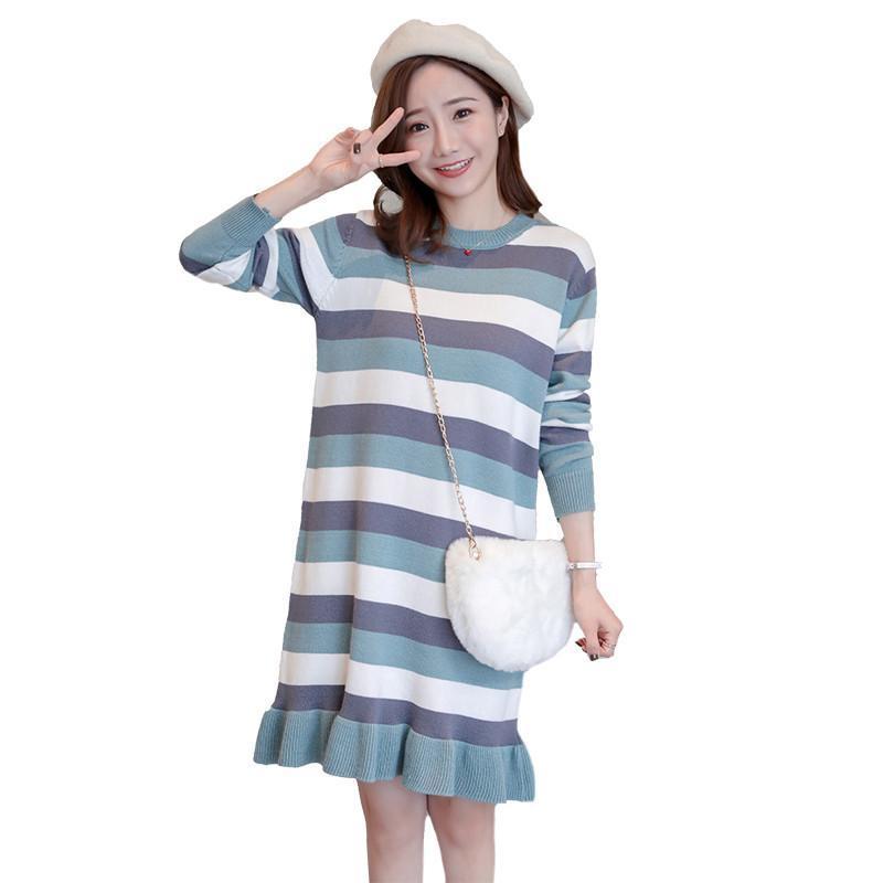 a61d8ec57 Compre 2019 Nueva Ropa De Embarazo Para Mujeres Embarazadas Volantes  Vestido De Suéter De Maternidad Rayas Lactancia Vestido De Punto Q335 A   38.26 Del ...