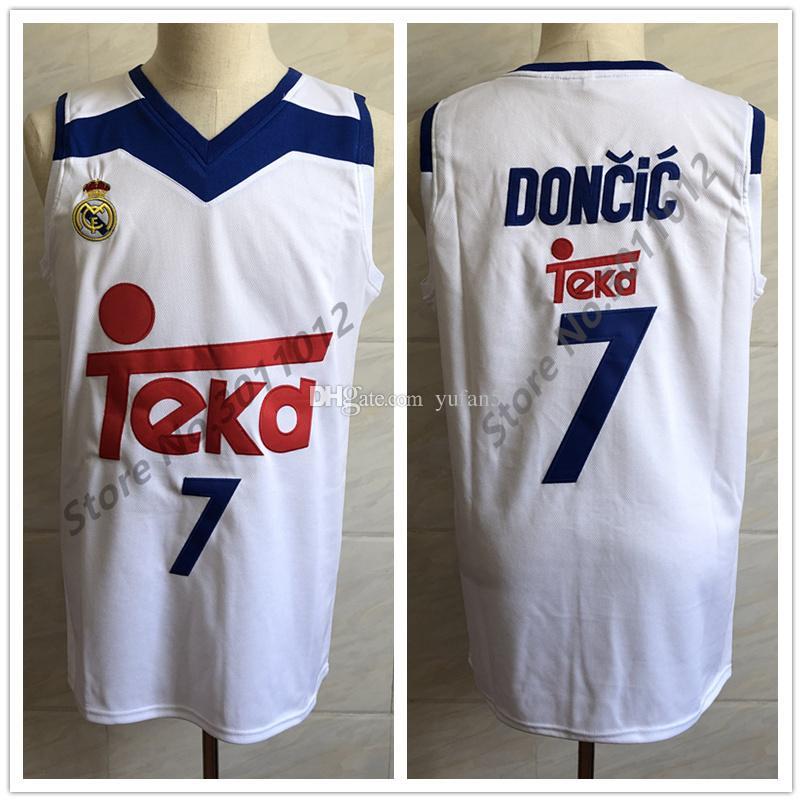c52db9ad97299 Compre Real Madrid   7 Luka Doncic Jersey De Baloncesto Retro Blanco Para  Hombre Cosido Número Y Nombre Personalizados Camisetas A  23.35 Del Yufan5  ...