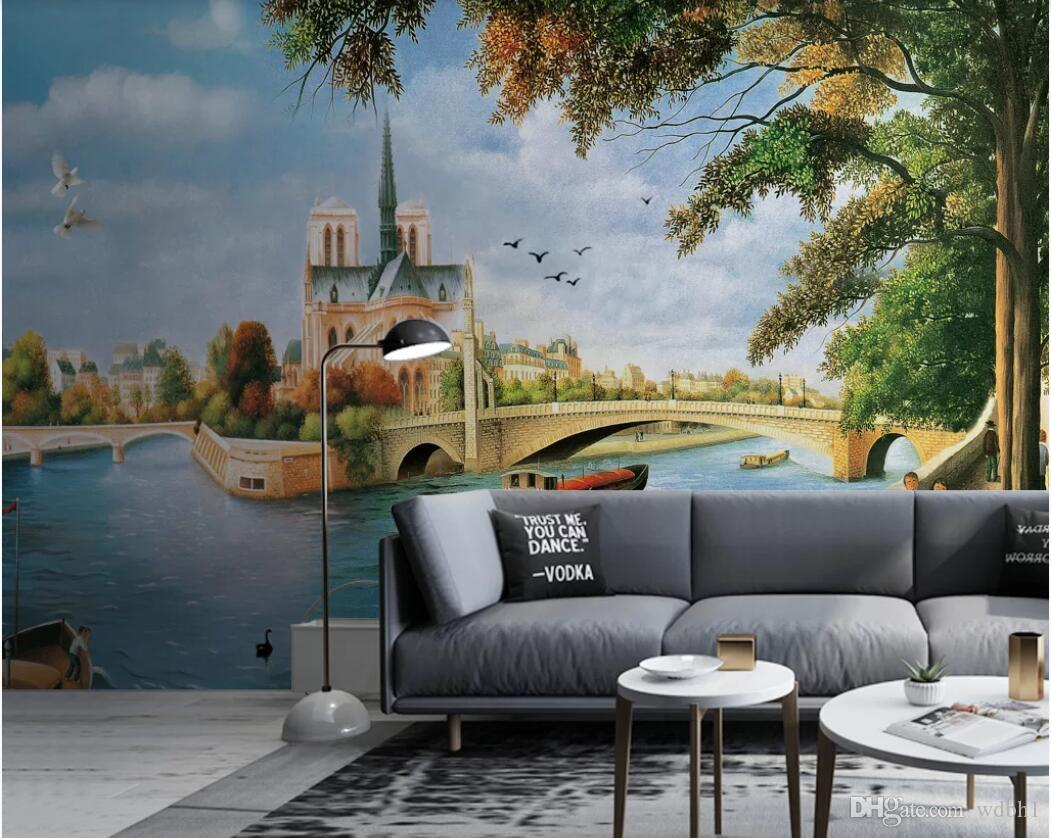3d room wallpaper custom photo mural Water city street ancient architecture landscape oil painting TV background wallpaper for walls 3 d